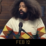 Image of Reggie Watts wearing a sweater with terracotta coloured diamonds on Comedy Bang! Bang!