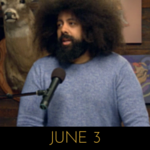 Image of Reggie Watts wearing an ash blue sweater on Comedy Bang! Bang!