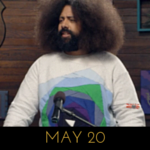 Image of Reggie Watts wearing a sweater that looks like a YouTube play button, on Comedy Bang! Bang!