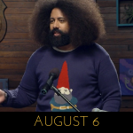 Image of Reggie Watts wearing a garden gnome on Comedy Bang! Bang!