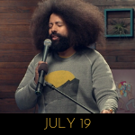 Image of Reggie Watts wearing a mountain sunset sweater on Comedy Bang! Bang!