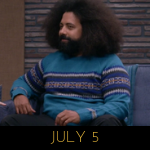 image of Reggie Watts wearing a blue skater sweater on Comdey Bang! Bang!