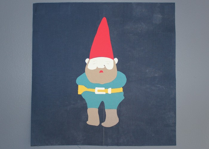 quilt block replica of Reggie's gnome sweater