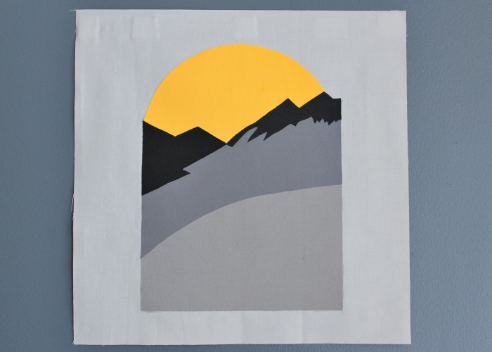 quilt block replica of Reggie's mountain sunset sweater