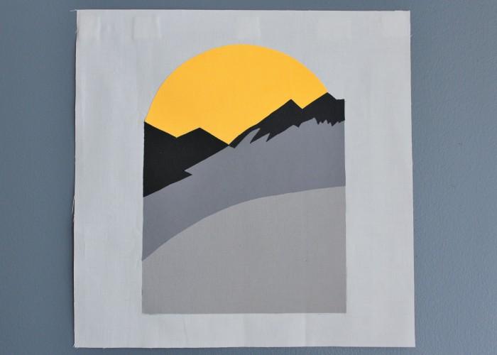 quilt block replica of Reggie's mountain sunset sweater